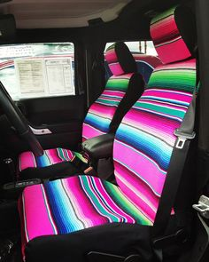 Our Jeep Wrangler Seat Covers are made to order for your exact Year and Model of Wrangler for a Guaranteed perfect fit.  Price is per row and includes all accessories related to your Jeep (headrests, map pockets, etc) If you would like both Front and Rear please place two items in your cart.  All Different Colors of Serapes Available! Please message us for color preference :)