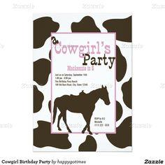"Cowgirl Birthday Party 5"" X 7"" Invitation Card"