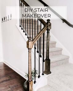 Price Varies Time Hours Difficulty Easy Replace your wood balusters with iron balusters for a new look Are you looking for a simple project with big impact? Replacing wood stair balusters with metal balusters is the project for you. Wrought Iron Stairs, Stair Railing Makeover, Diy Stair Railing, Metal Stairs, Metal Stair Spindles