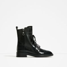 ZARA - WOMAN - LEATHER LACE-UP ANKLE BOOTS