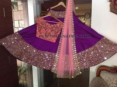 Purple color pure silk lehenga with glass work patch border, Paired with peach color net designer cut work mirror border duppatta and ros. Indian Bridal Wear, Pakistani Bridal, Bride Indian, Indian Attire, Indian Ethnic Wear, Indian Style, Pakistani Outfits, Indian Outfits, Mehendi Outfits
