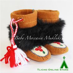 #Adorable #baby #moccasin #mukluks made by a #Tlicho from #Behchoko. Stands five inches perfect for little feet! Visit the Tlicho Online Store for more details http://onlinestore.tlicho.ca