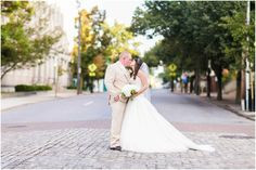 Heather Chipps Photography - Virginia Photographers - Wide angle bride and groom photo on cobblestone road