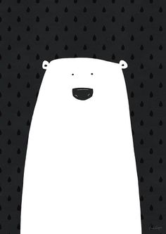 Zwart/wit poster met ijsbeer van het Zweedse designmerk A Grape Design - nordiklivingstore