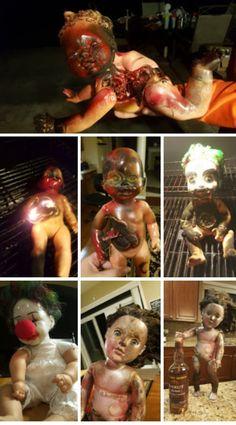 Halloween doll creepy clown Spooky House, Creepy Clown, Halloween Doll, Dolls, Chicken, Food, Baby Dolls, Puppet, Essen