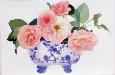 www.suzannehullwilson.com lots of simple but lovely artworks!!! Watercolour Flowers, Watercolour Paintings, Watercolor Landscape, Watercolor And Ink, Watercolor Projects, Watercolour Tutorials, Blue China, Funny Art, Flower Photos