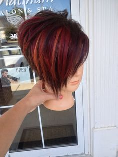 Short funky haircut and fun joico colors.