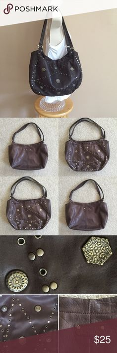 "Franco Sarto Brown Studded Leather Purse Used in great condition! 14"" x 10"" x 4"" with a 9"" drop. Double magnetic closure. There are 3 sections inside with the middle as a zipper closure. 2 interior slot pockets and a zipper change pocket. Franco Sarto Bags"
