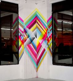 Maya Hayuk is an American artist best known for her bold and bright geometric patterns that she utilizes in large scale murals. Tape Wall Art, Street Art Graffiti, Public Art, Urban Art, Painting Inspiration, Wall Murals, 3 D, Contemporary Art, Blog