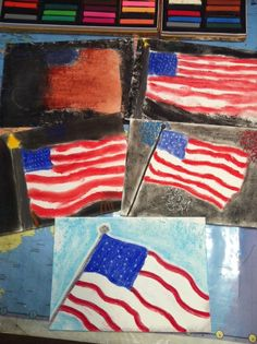American Flag Chalk Pastel #art by RaShell's family! It's a grand ol' flag (with fireworks too) @RaShell Southerland
