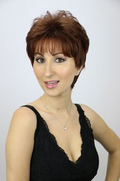 Bella is a sassy short wig that is fuller at the crown area and is tapered towards the neck. Sexy and short that's Bella! Long Wigs, Short Wigs, Short Wig Styles, Monofilament Wigs, High Quality Wigs, The Crown, Great Hair, Hair Day, Feminine Style