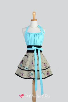 Etsy listing at https://www.etsy.com/listing/208802663/flirty-chic-apron-beautiful-florals-in