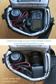How To Put Your DSLR In A Camera Bag Safely - www.SnapHappyMom.com