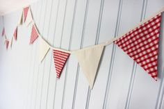 Red and White 'Rita' Gingham Bunting / Fabric by annasbluebellblue Gingham Fabric, Fabric Bunting, Bunting Banner, Banners, Cotton Fabric, Red S, Red And White, Etsy Handmade, Small Businesses