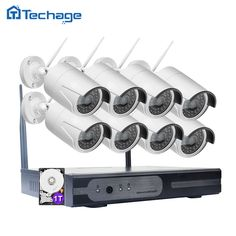 Techage Wifi CCTV System 8CH 1080P HD Wireless NVR Kit Outdoor IR Night Vision Video Security Surveillance Set With 8 Cameras