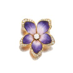 Enamel and diamond brooch/ pendant, Circa 1900 - Sotheby's #flowers #diamonds #jewelry