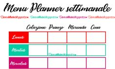 menu planner da stampare e scaricare