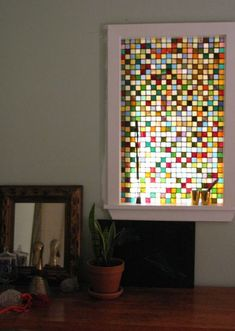 stained glass, this one is built in, but you could just set it on the window ledge
