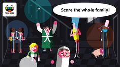 Toca Boo lets kids guide a girl-disguised-as-ghost through a spooky house, seeking out hiding places so she can jump out and startle her six unsuspecting housemates. Funny Apps, Spooky House, Character Design References, Indie Games, Cheating, Videogames, Family Guy, Education, Learning