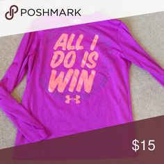 Girls under armor all I do is win Tee Long sleeve purple tee with orange print. Loose fit. Heat gear. 100% polyester Under Armour Shirts & Tops Tees - Long Sleeve