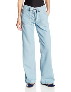 Democracy Women's Soft Tencel Pant with Drawstring and Front Pockets, Powder Blue, 4