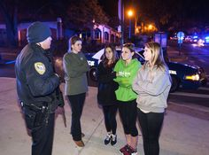 Another School Shooting .............. A police officer spoke with students outside the Strozier Library at Florida State University on Thu... - Mark Wallheiser/Associated Press