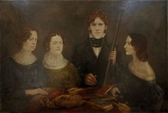 Recreation of 'The Gun Portrait' with Actors as the Brontë siblings for BBC Film 'To Walk Invisible' Oil on canvas 90.2 x 74.6cm by Timna Woollard