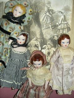"Set of FOUR 1940s china RUTH GIBBS Godey's Lady ,""Little Women"" dollhouse dolls"