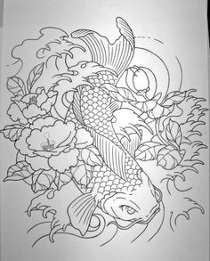 koi sleeve design by chilchix Like the direction, the waves, lose the flowers...