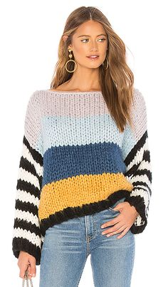 Blank NYC BLANKNYC Chunky Stripe Sweater, You can collect images you discovered organize them, add your own ideas to your collections and share with other people. Fashion Trends 2018, Couture Details, Blank Nyc, Revolve Clothing, Pulls, Knitwear, Knitting Patterns, Knit Crochet, Cool Style