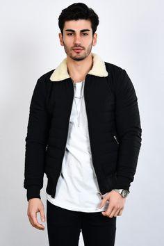 985115fcff5ad Kadın ve Erkek Giyim Online Alışveriş Sitesi. Erkek Yakası Kürklü Kapitone  Siyah Şişme Mont