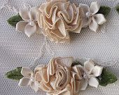 2 pc Champagne Tan Satin Ribbon Carnation Rose Pearl Flower Alligator Clip French Barrette Dog Baby Bridal Bow Pin