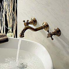 seinälle kaksi kahvaa kolme reikää antiikki kupari kylpyhuoneen pesuallas hana