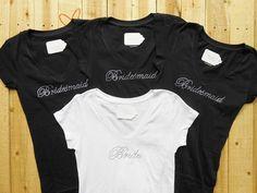 bride Rhinestone Shirt vneck   Bridesmaid Shirt. 4 Bridal Party Shirts. Bride. Maid Matron of Honor ...