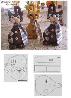 Cute cat pattern - no actual measurements. Fabric Toys, Fabric Crafts, Sewing Crafts, Sewing Projects, Cat Crafts, Animal Crafts, Cat Quilt, Sewing Dolls, Cat Pattern