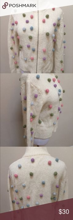 """Sleeping On Snow Anthro Ivory Pom Pom Sweater XL Sleeping On Snow Anthropolgie Ivory Polka Dot Pom Pom Sweater Cardigan Women XL. Excellent condition! Clean and comes from smoke free home. Questions welcomed! Armpit to armpit: 20"""" across  Length: 20"""" Anthropologie Sweaters Cardigans"""