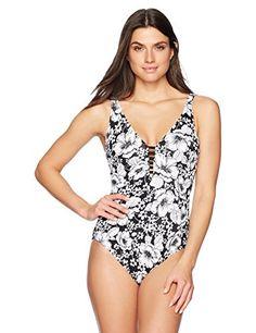 8d9d5aae4a662 Coastal Blue Women's Control Swimwear Lattice Front One Piece Swimsuit