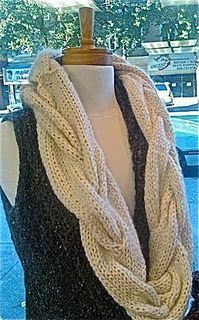 Cable scarf pattern.  It really is a blast to make these.