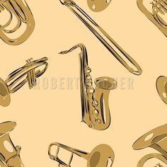 MARCHING IN – The brass band does not march in Bourbon Street only. You can feel the groove at patterndesigns.com too. https://www.patterndesigns.com/en/design/20521/Bourbon-Street-Parade