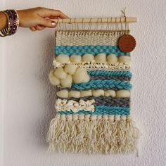 Tapiz en telar con lana, tela de seda y lana merino XL #tapiz #tapizentelar #tapizlana #tapizpared