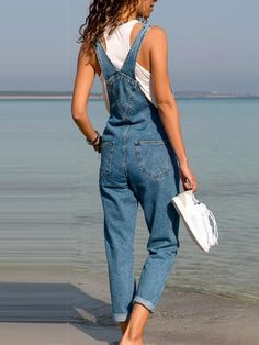 Belted Hole Hollow Out Pocket Casual Fashion Denim Overalls Jumpsuit Womens Denim Overalls, Denim Jeans, Jean Overalls, Dungarees, Jeans Pants, Trousers, Jumpsuit Outfit, Denim Jumpsuit, Rompers Women