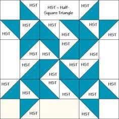 Pinwheel Star Quilt Block Diagram Free Pattern at QuiltTherapy.com!