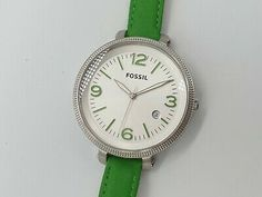 Green leather strap. Silver dial with green hour markers. Silver stainless steel case. New battery installed. Green Leather, Stainless Steel Case, Fossil, Markers, Watches, Silver, Ebay, Women, Sharpies
