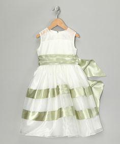 Ivory & Sage Stripe Dress - Toddler & Girls
