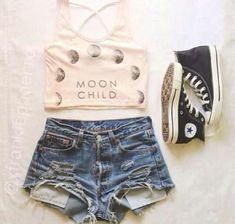Moon child cropped tank with high waisted jean shorts and high top converse