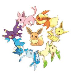 The evolved forms of Eevee. Flareon, Jolteon, Leafeon, Glaceon, Vaporeon, Umbreon and Espeon.