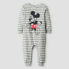548d684d3 Disney Baby Boys' Mickey Mouse Striped Long Sleeve Romper - Gray Size: 24 M