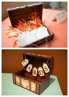 Travel theme wedding ideas - Escort Cards in a trunk - write your name and put it by your own seat