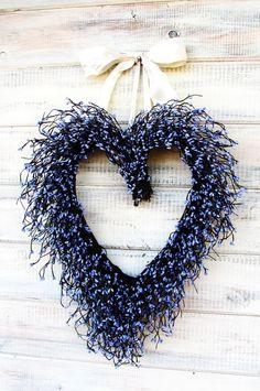 Purple Lavender Heart Wreath by WildRidge Design Lavender Cottage, Lavender Blue, Lavender Wreath, Rosa Pink, Cottage Wedding, Dusty Blue Weddings, I Love Heart, Wedding Wreaths, Heart Wreath