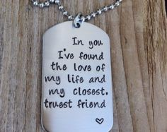 Custom dog tag hand stamped love quite gift for him military couple , anniversary gift stainless steel dog tag